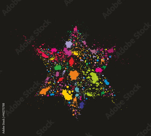 Grunge colorful David Star - holiday vector illustration