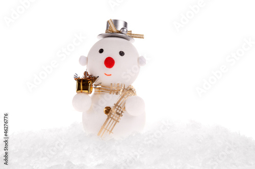 christmas snowman toy on the black background