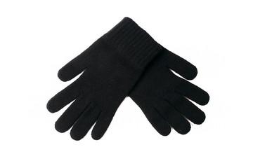 Black gloves on the white background