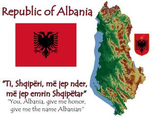 Albania national emblem map symbol motto