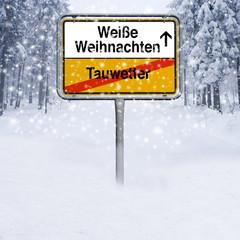 Ortsschild Weiße Weihanchten im Schnee