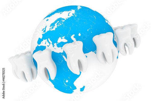 Extreme closeup tooth with globe