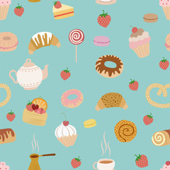 seamless pattern with different types of pastries on blue