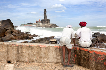 Two pilgrims look to the memorial of Vivekananda Memorial