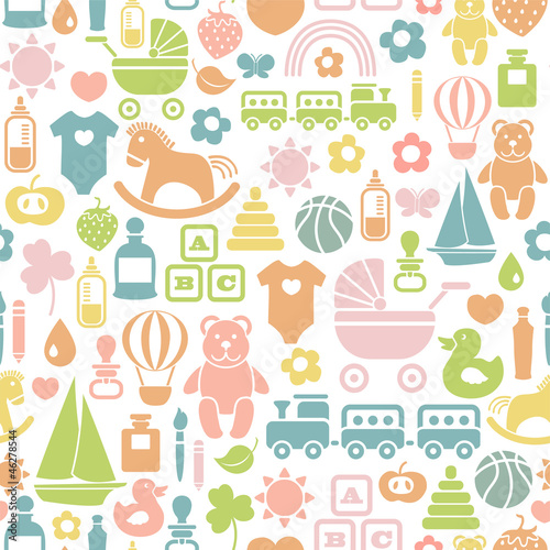 seamless pattern with colorful baby icons