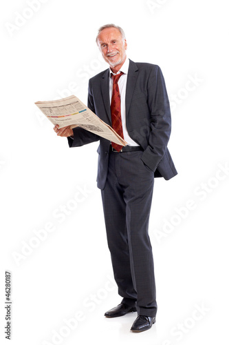 Casual mature business man with newspaper