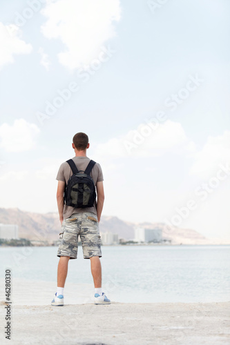 a man with a backpack
