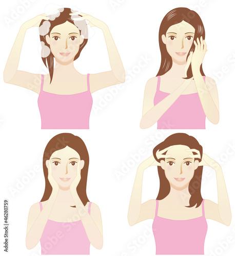 洗髪とヘッドマッサージ(シャンプー・トリートメント・リンパ腺を撫ぜる・掻き上げる)