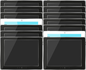 tablet pc set with black and blue screen