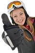 """Junge Frau im Skianzug """"Daumen rauf"""""""
