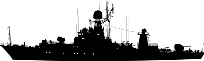 Vector silhouette of the military ship in profile