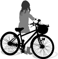 Silhouettes of the cyclist