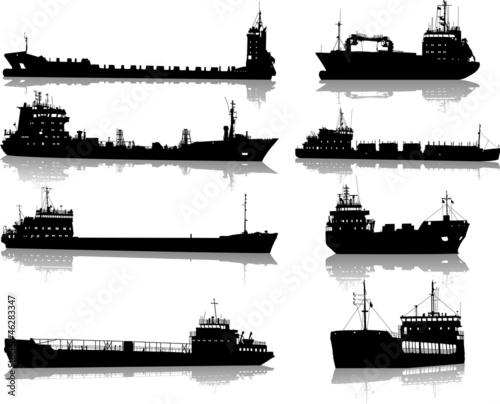 Set of silhouettes of the sea cargo ships