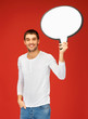 smiling man with blank text bubble