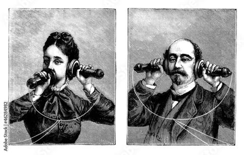 Leinwanddruck Bild Telephone - 19th century