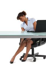 cute secretary stroking her legs