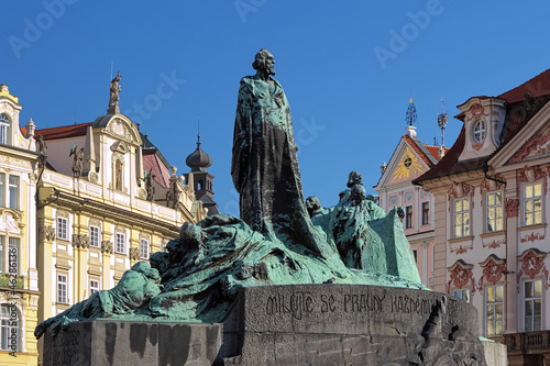 Jan Hus Monument on the Old Town Square in Prague