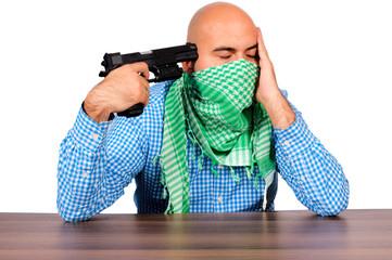 Man point gun