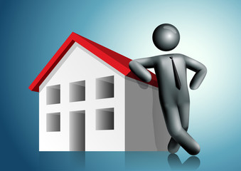 3d vector man leaning house