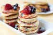 Delicious homemade cheese pancakes with berries - 46287540