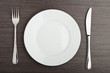 plate fork knife white empty