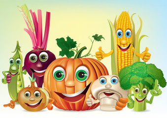 Cartoon fun company of vegetables