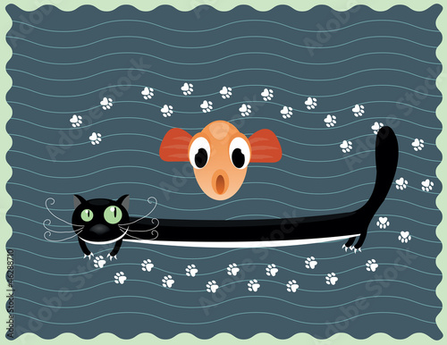 happy cat with fish