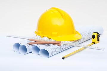 construction blueprints and tools