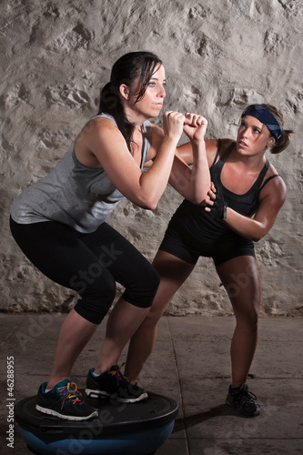 Two Women in Boot Camp Balance Training