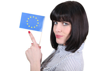woman holding a flag of the European union