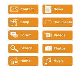 Botones para menú de página Web en color naranja