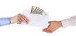 man's hand passes the envelope with dollars on white background