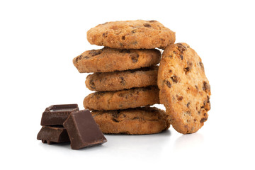 Chocolate cookies whit pieces chocolate, isolated on white backg