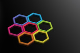 Abstract Colorful Hexagons