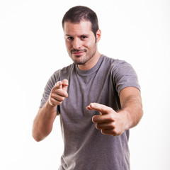 Cool guy pointing at something