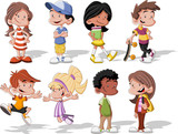 Group of cute happy cartoon kids