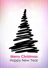 Drawn black Christmas tree on pink-violet background.