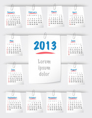 Calendar for 2013 on sticky notes attached with clip