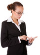 Young business lady touching and browsing her smart phone