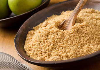 A bowl of sifted brown sugar.