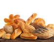 Variety of bread on white background