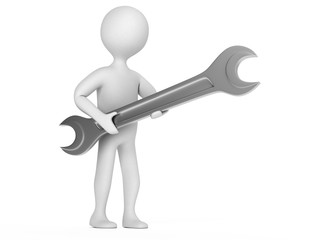 Character with a wrench