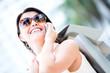 Female shopper on the phone