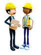 3D construction workers talking