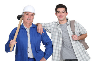 Manual worker and a young man with a rucksack