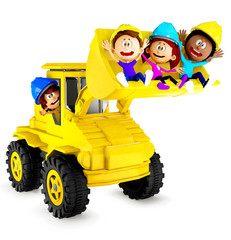 3D kids playing with a bulldozer