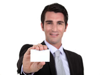 Man Holding Out His Business Card Sticker