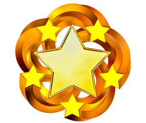 set of six shiny gold stars in motion