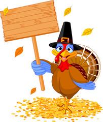 Thanksgiving turkey holding sign