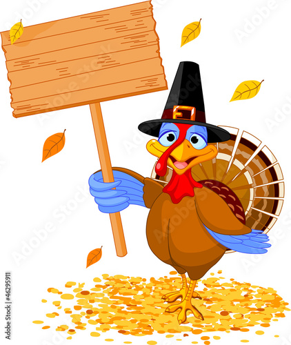 Thanksgiving turkey holding sign